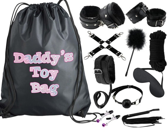 Sparkly Pastel Daddys Toy Bag Beginners Bondage Kit Daddy Master DDLG BDSM CGLG Submissive Dominant Rope Cuffs Leash Whip Nipple Clamps