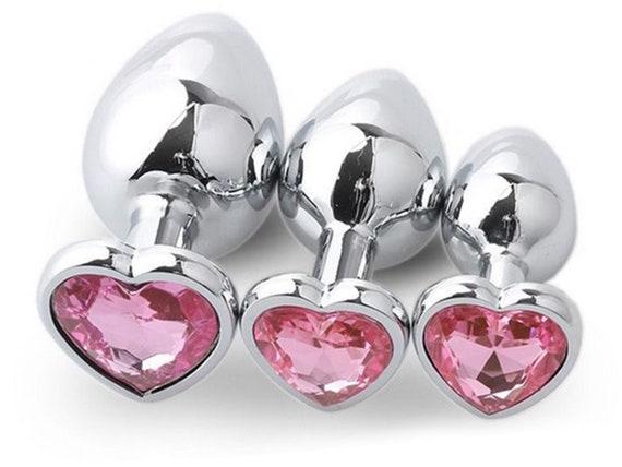 Light BABY PINK HEART Shaped Acrylic Crystal Butt plug 3 sizes anal toy sex jeweled ass dildo cglg hotwife hot wife vixen slut Princess slut