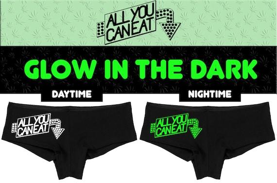 Glow in the Dark ALL You CAN EAT underwear flirty hen party bachelorette boy short panty panties boyshort sexy funny sexy rude oral fun slut