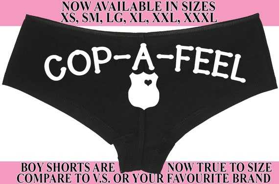 COP A FEEL LEO Police Wife honeymoon engagement bridal bachelorette panty Panties boyshort policeman sexy party wifey gift search warrant