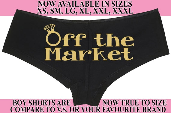 OFF THE MARKET Wifey new wife honeymoon engagement bridal bachelorette hen gift panty Panties boyshort color choices sexy funny party ring