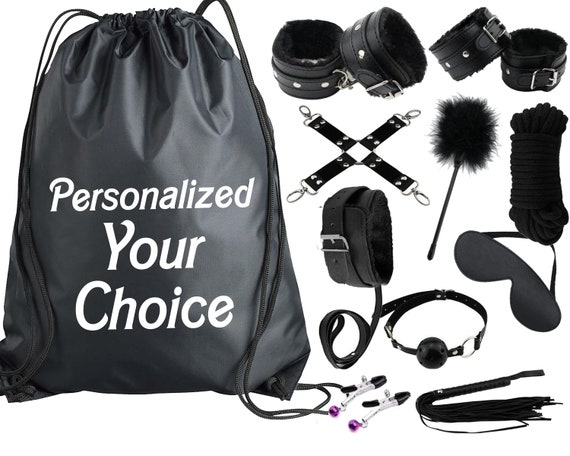 Beginners Bondage Kit Black Personalized Storage Bag - Daddy Master DDLG BDSM CGLG Submissive Dominant Rope Cuffs Leash Whip Nipple Clamps
