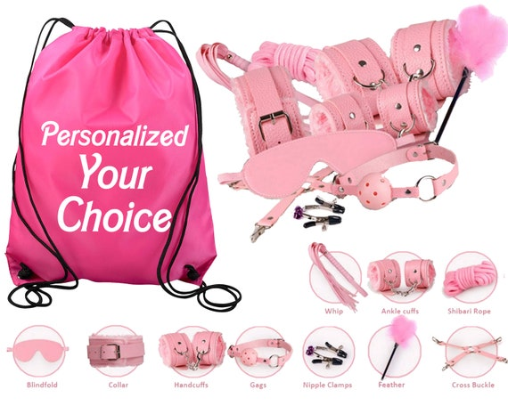Pink Beginners Bondage Kit and Personalized Storage Bag Daddy Master DDLG BDSM CGLG Submissive Dominant Rope Cuffs Leash Whip Nipple Clamps