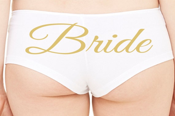 BRIDE Just Married Wifey new wife honeymoon engagement bridal bachelorette hen gift panty panties white boyshort white sexy funny party ring