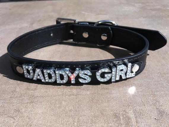 DADDYS GIRL rhinestone choker sparkly red hot vegan leather bdsm collar daddy's little cumslut ddlg hotwife shared owned bondage Cum Slut