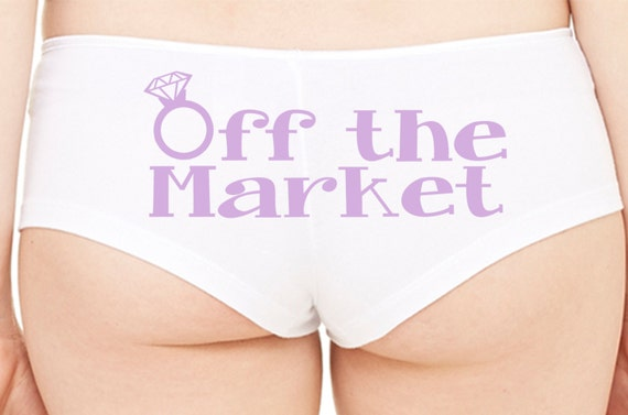 OFF THE MARKET Wifey new wife honeymoon engagement bridal bachelorette hen gift panty Panties boyshort color white sexy funny party ring