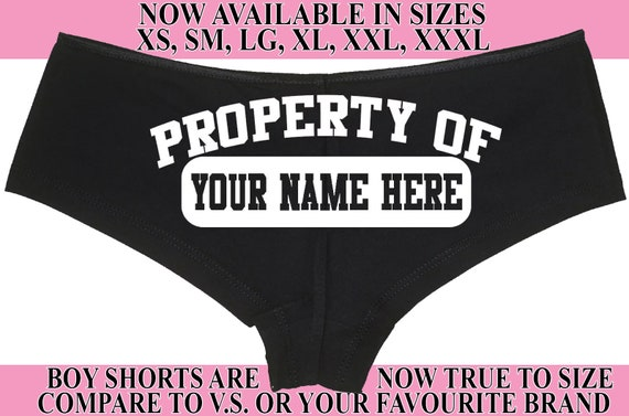 Custom PERSONALIZED PROPERTY OF Your Name submissive slave boy short panty Panties boyshort sexy rude slutty slut collar collared ddlg bdsm
