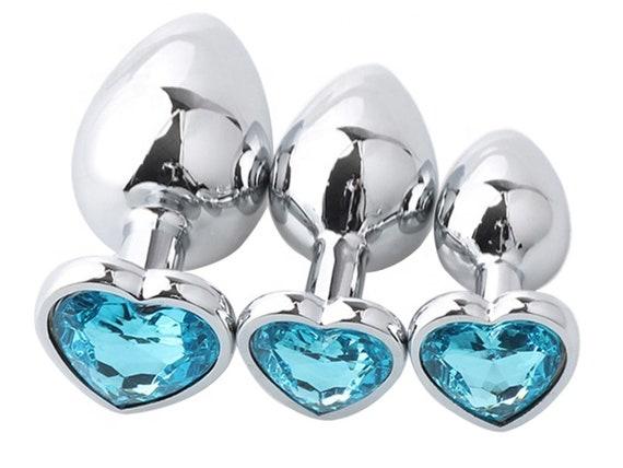 Light Aqua SKY BLUE HEART Shaped Acrylic Crystal Butt plug 3 sizes anal toy sex jewel ass dildo cglg hotwife hot wife vixen slut Princess