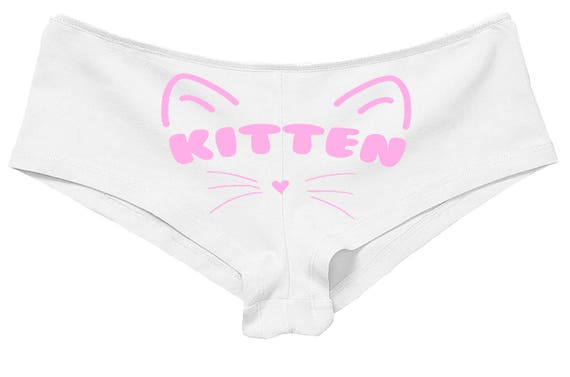 Daddy's KITTEN owned slave white boy short panty panties boyshort colors sexy funny front center rude slut collar collared neko pet play cat