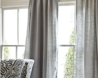 Gray Cotton Curtains. Living Room . Bedroom. Dining Room