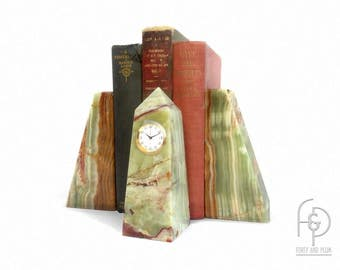 Green Rust and Cream Onyx Bookends and Obelisk Clock a Set
