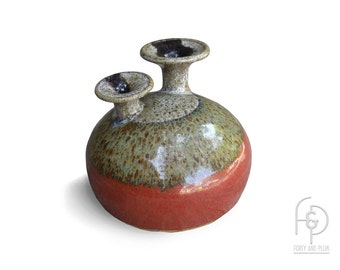 Weed Pot Vase/Object Studio Art Pottery, Round Cushion Shaped Stoneware Trumpet Shaped Stems In the Style of Warren Hullow and Isabel Parks