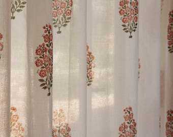 Curtain Panel Window White Fl Decor Curtains Ds Indian Bedroom Cotton