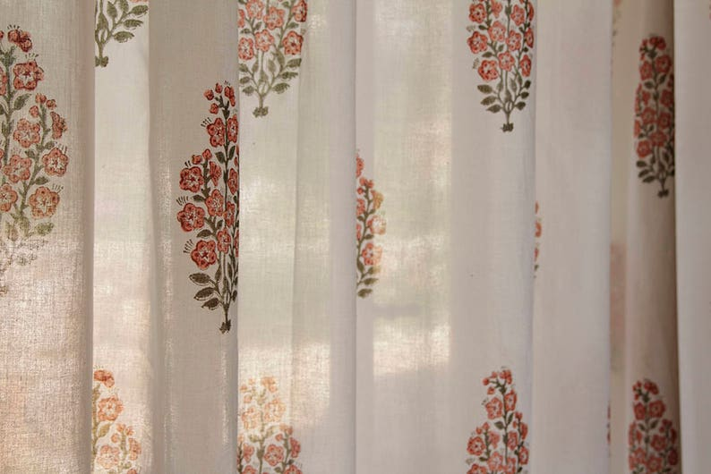 Curtain panel, window curtain, white curtain, floral curtain, decor  curtain, curtains drapes, Indian curtain, bedroom curtain, cotton