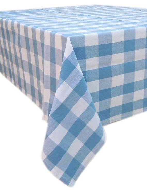 Blue Gingham Tablecloth, Rectangle Cotton Tablecloth, Country Kitchen, Boho  Decor, Kitchen Decor