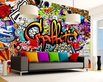 Graffiti wallpaper | Etsy