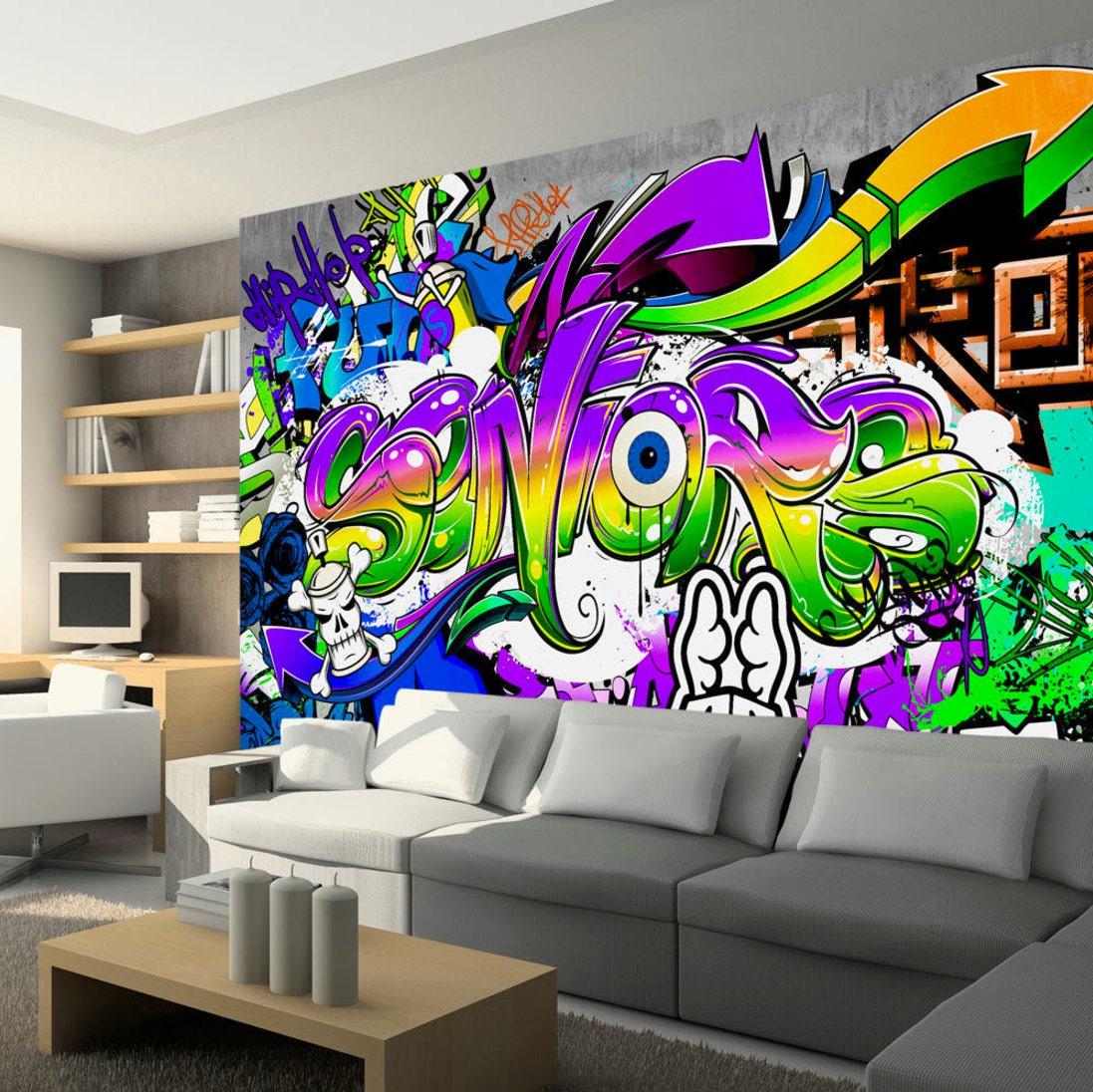 Bedroom Wall Art Graffiti: Photo Wallpaper Wall Murals Non Woven Graffiti Art Modern