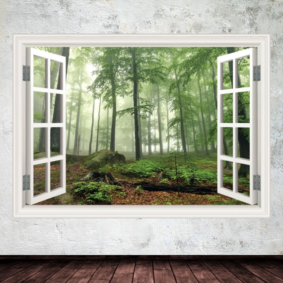wall decals window frame forest wall art sticker decal | etsy
