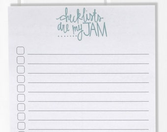 Checklists are my Jam! Funny Notepad / Hand Lettered Notepad / Custom Notepad / To Do List / Checklist / Stationery / Teacher Gift
