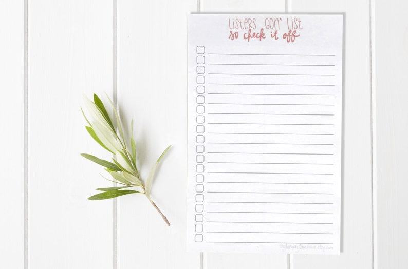 Listers Gonna List Funny Notepad  Hand Lettered Notepad  Custom Notepad  To Do List  Checklist  Stationery  Teacher Gift