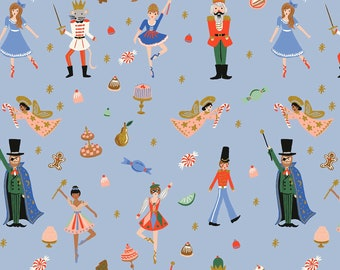 Holiday Classics Rifle Paper Co. Christmas collection holiday fabric the nutcracker fabric on periwinkle ballerina nutcracker fabric