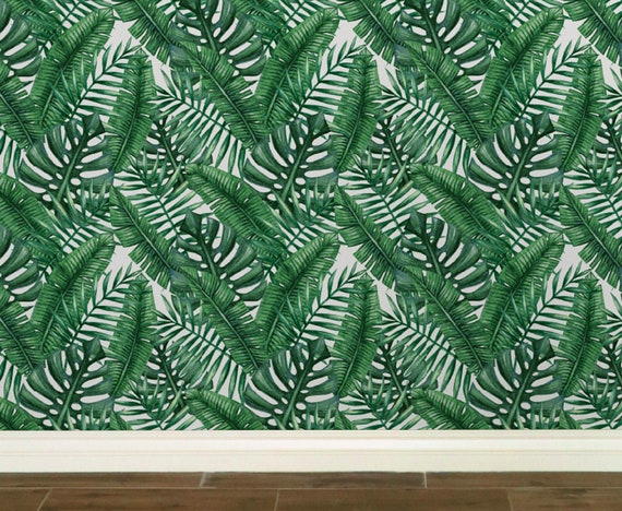 Palm Tree Leaves Removable Wallpaper Tropical Removable Etsy
