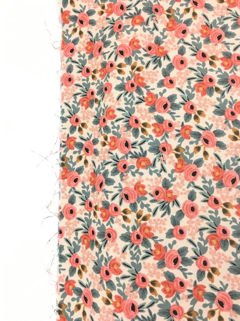 100/% cotton floral fabric rifle company Rifle Co floral design Coral Floral rose bunches les fleurs peach rifle rose bunches fabric