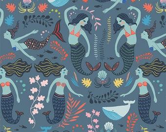 Mermaid Fabric, Siren Long Twilight, AGF SRN-5350 Fabric by the yard, mermaids ocean fabric, under the sea, whales coral fabric,
