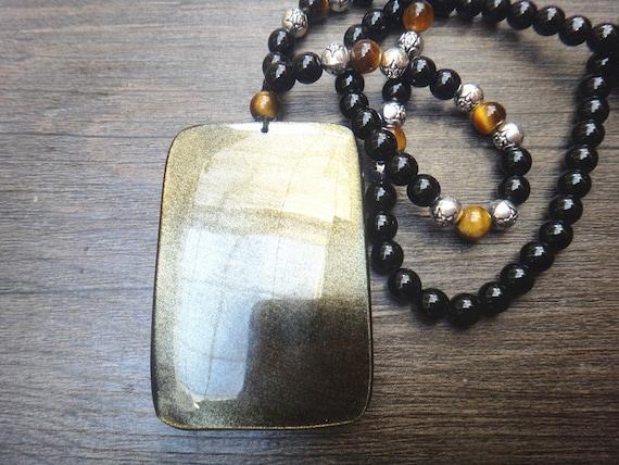 Natural gold obsidian  Fixed Ming wang  Pendant patron saint