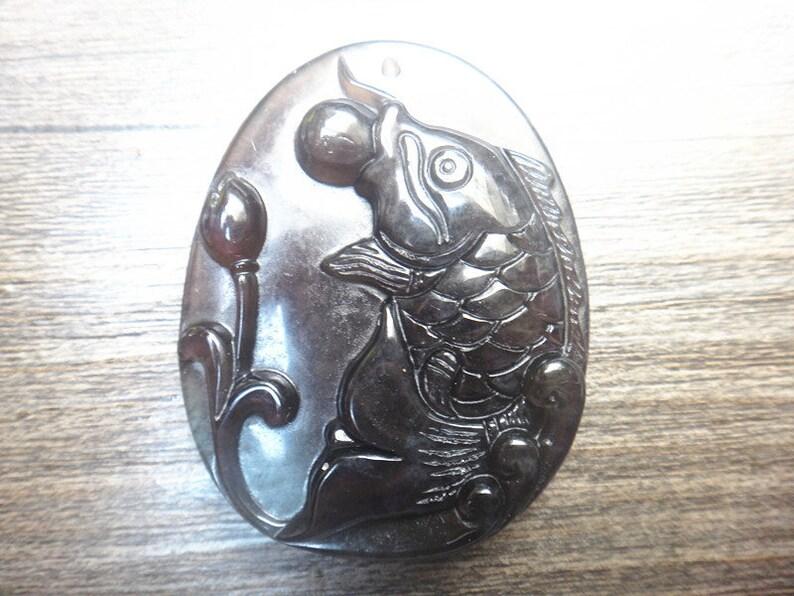 Natural Ice kind of rainbow eye Obsidian fish Pendant Necklace Amulet