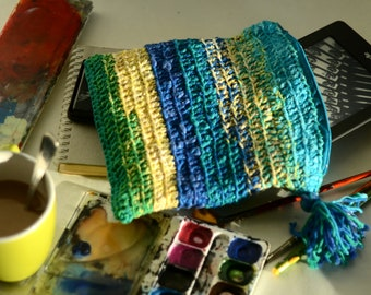 SPRING SALAD Crocheted POUCH. For your cosmetic, kindle or tablet or other funky stuff. :) Handmade. One of a kind. 18 x 20 cm.