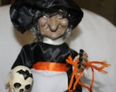 Halloween Witch w Spiders, Skull and Pumpkin w Black Cat w Skeleton, Great for Halloween Parties, Decoration