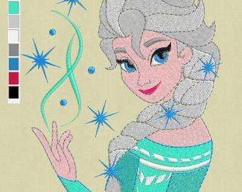 Elsa Frozen embroidery design 5x7 pes hus exp jef files