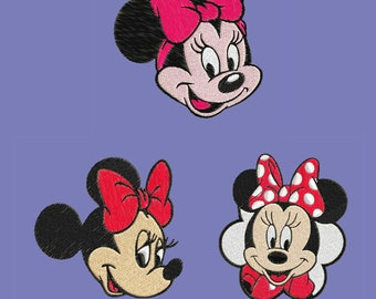 3 Minnie Mouse face embroidery 3 designs pes hus jef Brother