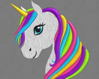 embroidery designs 3 sizes unicorn horse Rainbow  Pony  pes hus jef