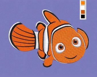 Embroidery design Nemo fish pes hus jef