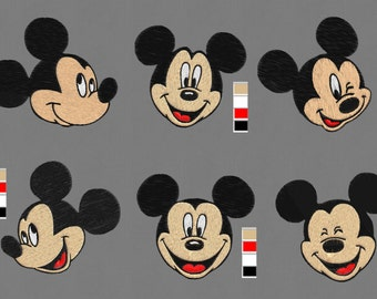 Mickey Mouse 6 Faces embroidery designs pes hus jef vip vp3 exp dst xxx