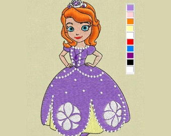 embroidery design  Sofia First pes hus jef in zip