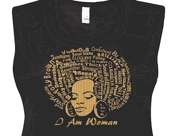 Gold Vinyl I Am Woman Tank