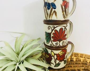 Vintage Westwood Hand Painted Coffee Mugs // Set of 3 // Speckled Stoneware