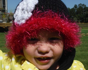 Crochet toddler hat, Hat with flower, Hat with fur, Toddler hat, Black and pink hat, Girl hat, 2T, Fur