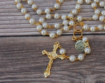 Handcrafted Beautiful Gold Wedding Rosary Imported from Italy