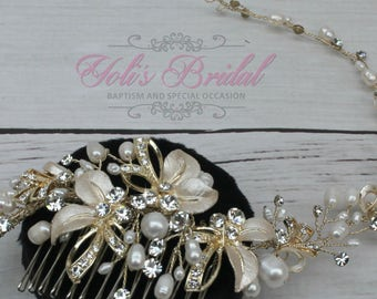 FAST SHIPPING!! Swarovski and Fresh Water Pearls  Hair Comb, Crystal Hair Comb, Swarovski Hair Comb