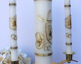 Silver or Gold! Wedding Unity Candle Set with or without the Candle Holder!