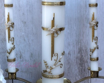 Silver or Gold Wedding Unity Candle Set with or without the Candle Holder