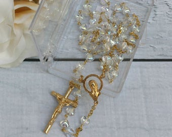 FAST SHIPPING!! Handcrafted Beautiful Gold Rosary with Heart Beads