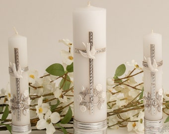 FAST SHIPPING!! Beautiful Silver Wedding Unity Candle Set, Communion Candle Set.