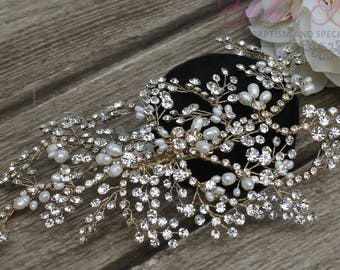 FAST SHIPPING!!! Gold Bridal Hair Comb, Wedding Hair Comb, Crystal Hair Comb, Swarovski Hair Comb, Crystal Headpiece, Bridal Headpiece