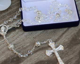 FAST SHIPPING!! Handcrafted Beautiful Crystal Rosary, Communion Rosary, Confirmation Rosary, Christening Rosary