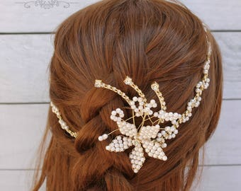 Fast Shipping!!!  Silver Crystal and Pearl Hair Vine, Bridal Hair Vine, Wedding Hair Comb, Bridal Headband